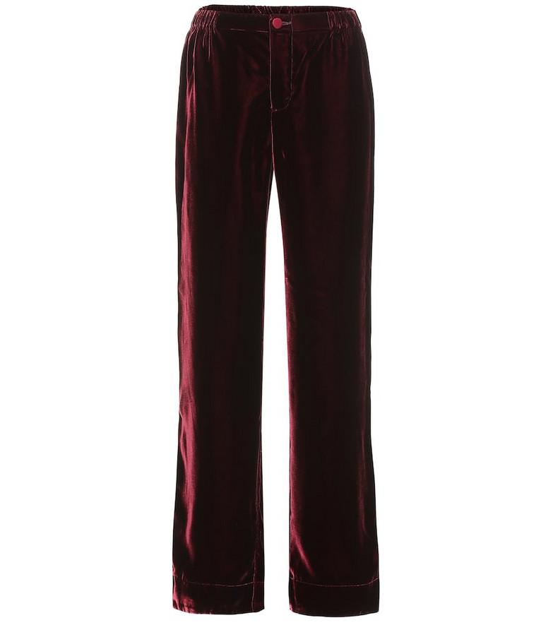 F.R.S For Restless Sleepers Etere velvet wide-leg pants in red