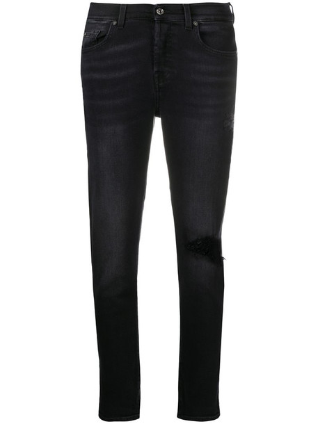 7 For All Mankind distressed cropped jeans in black