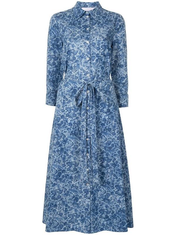 Carolina Herrera floral flared shirt dress in blue