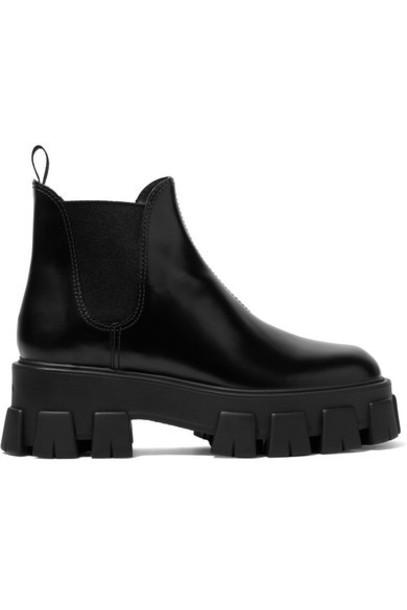 Prada - Leather Chelsea Boots - Black