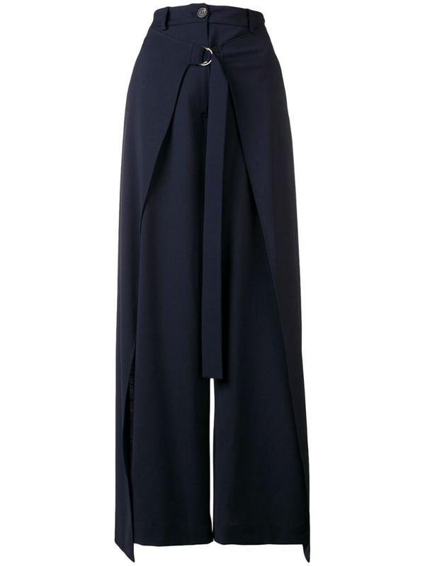 Aalto drape wide-leg trousers in blue