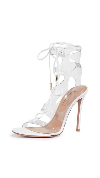 Aquazzura Milos 105mm Sandals in white