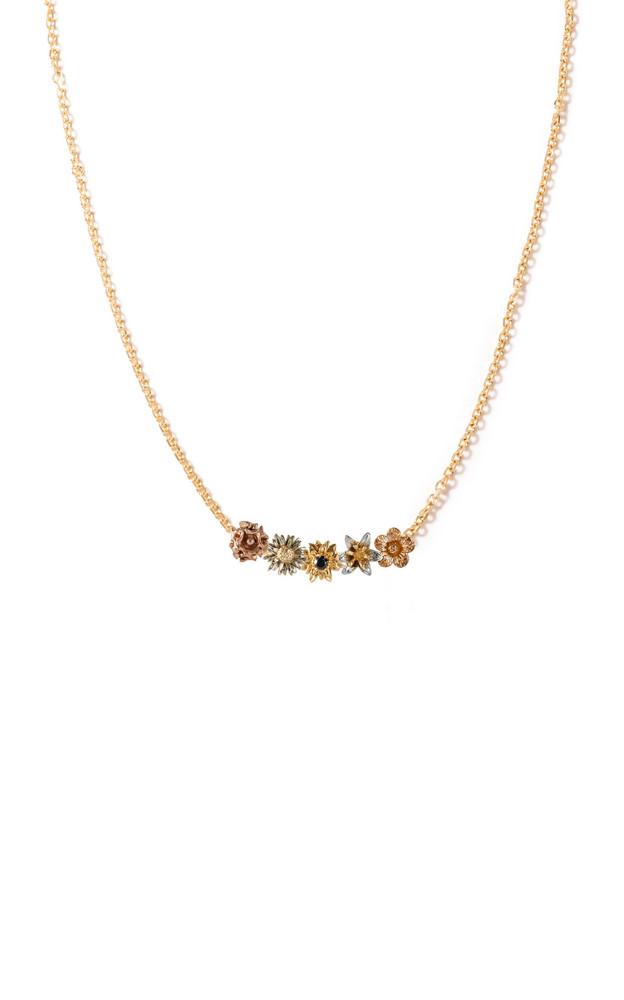 Bernard James Flora 14K Gold Diamond Charm Necklace in multi