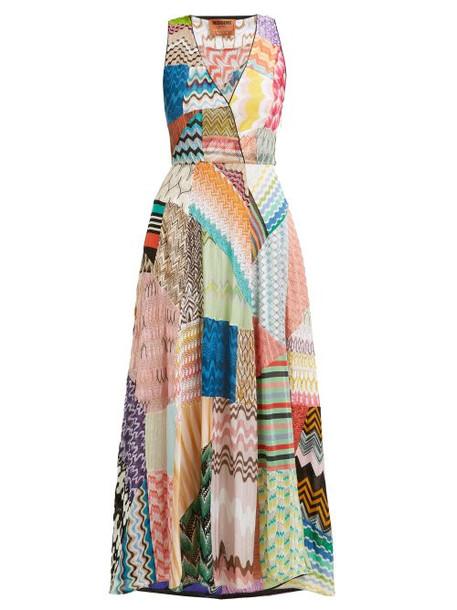 Missoni - Zigzag Patchwork Silk Blend Dress - Womens - Pink Multi