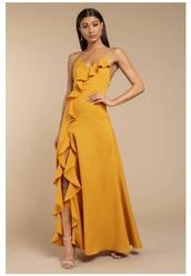 dress,yellow,maxi dress,maxi,prom dress,prom,v neck dress,v neck,strappy,yellow dress