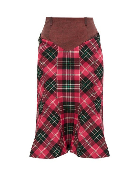 Marine Serre - Fluted Hem Denim And Tartan Pencil Skirt - Womens - Pink Multi