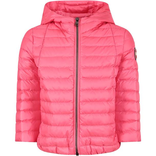Colmar Fucshia Girl Jacket With Iconic Logo in pink