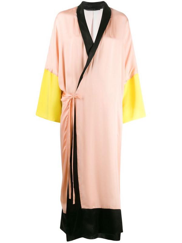 Haider Ackermann colour block robe wrap dress in pink