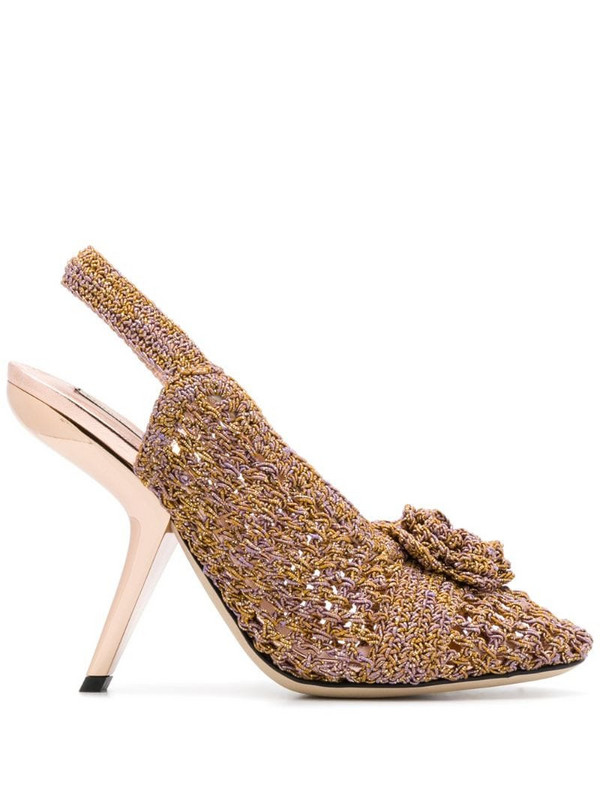 Marco De Vincenzo floral appliqué knitted sandals in pink