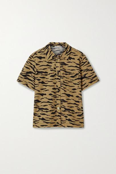REJINA PYO - Nico Tiger-print Cotton-poplin Shirt - Beige