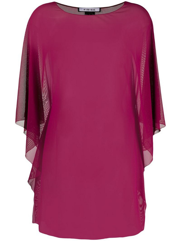 Fisico sheer draped blouse in red