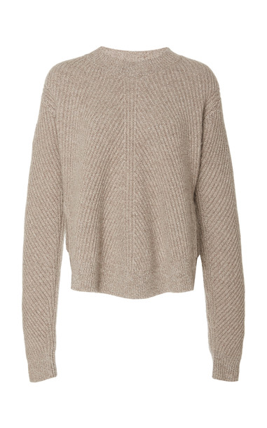 Co Chevron Ribbed Sweater in neutral