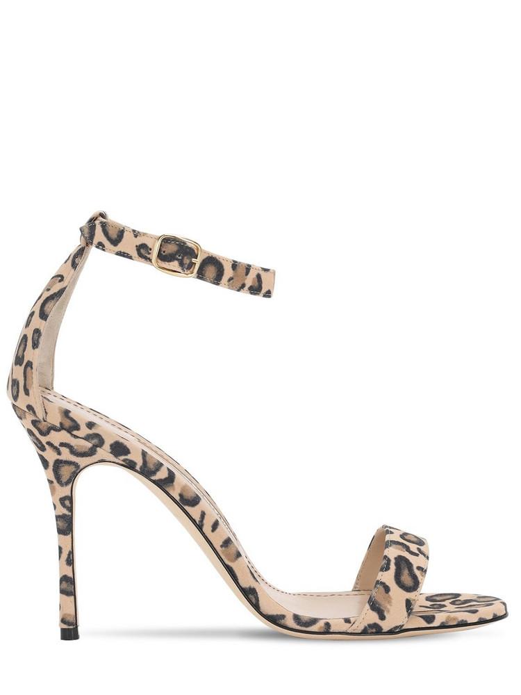 MANOLO BLAHNIK 105mm Chaos Leopard Print Suede Sandals in brown / white