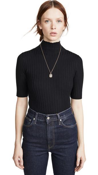 525 America Ribbed Mock Neck Pullover in black