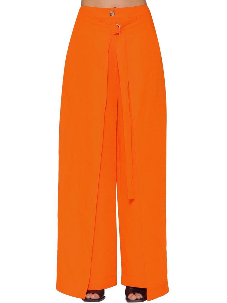 AALTO Paneled Linen Bland Wide Leg Pants in orange