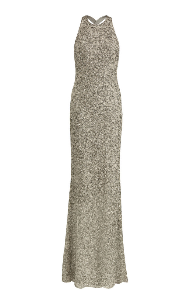 Ralph Lauren Grayden Bead-Embellished Gown in grey