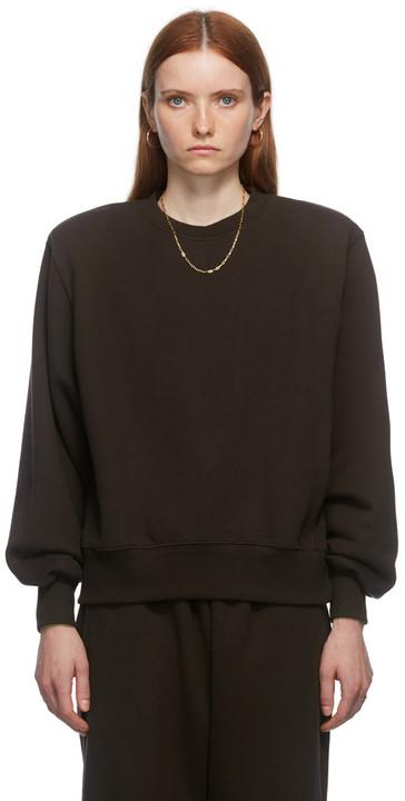 The Frankie Shop Brown Padded Shoulder Vanessa Sweatshirt in chocolate / plum