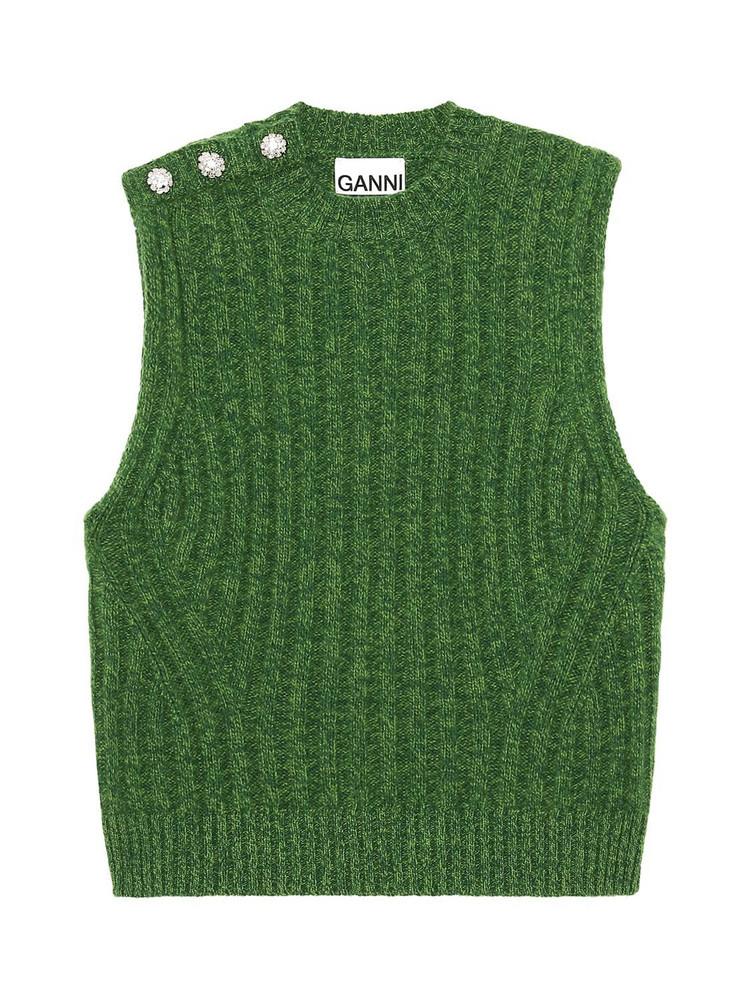 GANNI Recycled Wool Blend Embellished Vest in green