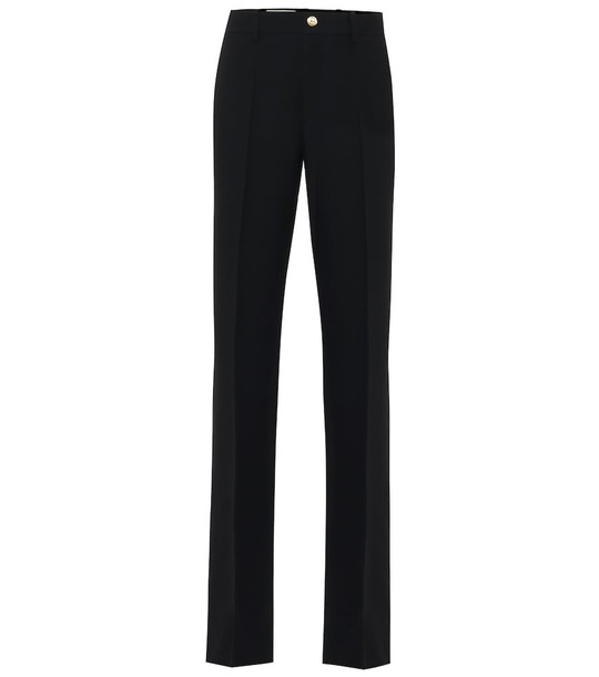 Gucci High-rise flared silk and wool pants in black