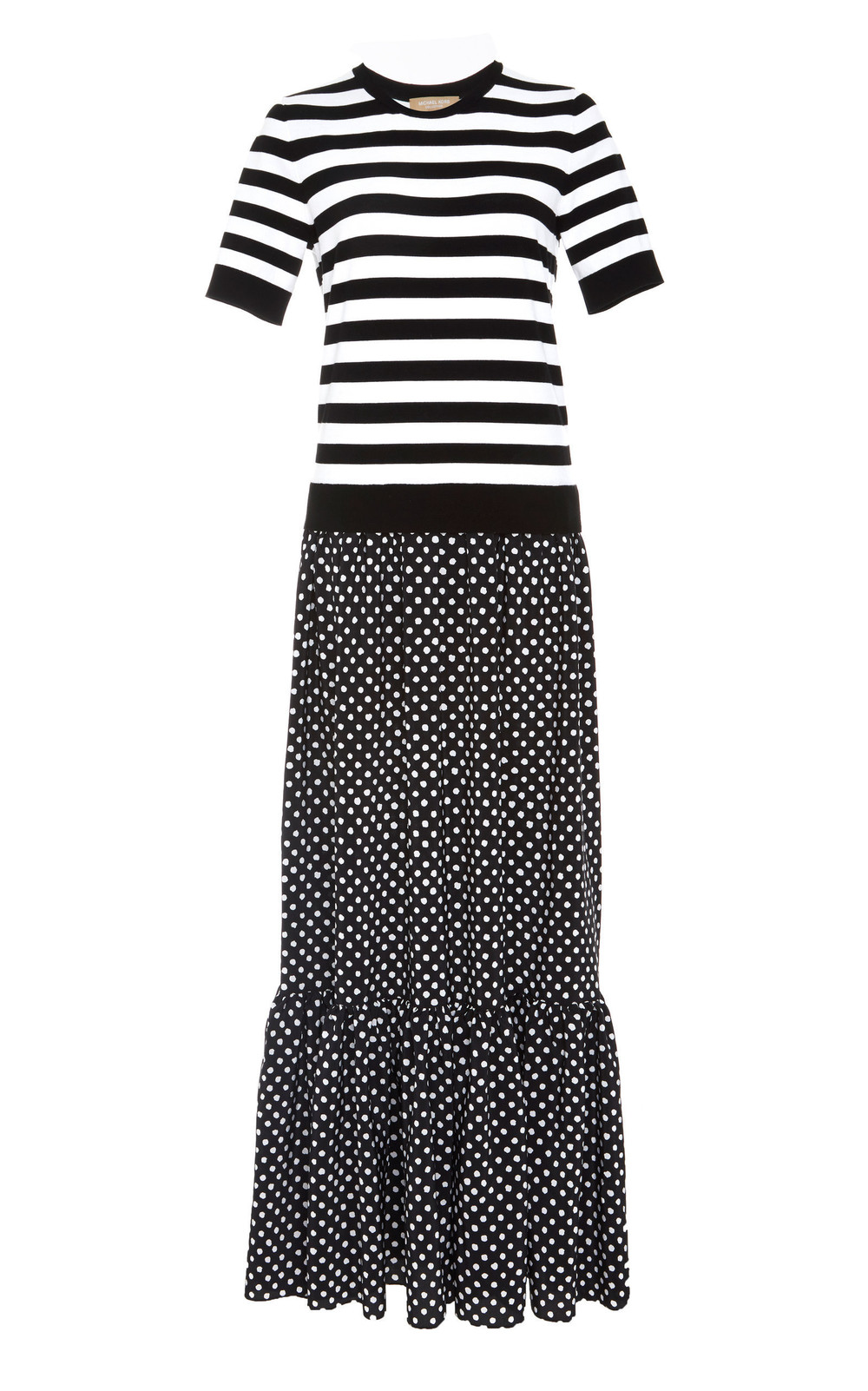 Michael Kors Collection Printed Jersey Maxi Dress in black / white