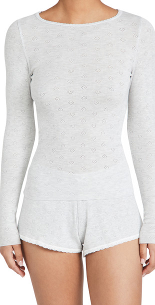 Polkadot England Pointelle Val Crew and Shorts Set in grey