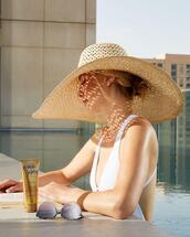 swimwear,hat,sunglasses