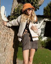skirt,sunglasses,jacket,hat