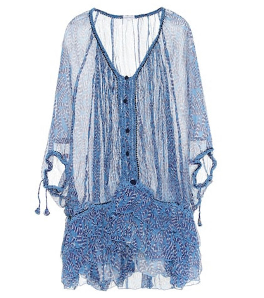 Poupette St Barth Poncho Bety silk cover-up in blue