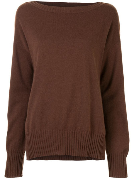 P.A.R.O.S.H. rib-trimmed cashmere jumper in brown