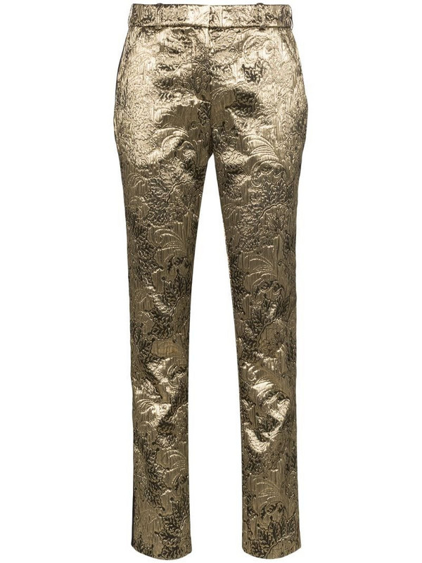 Faith Connexion brocade straight-leg trousers in gold