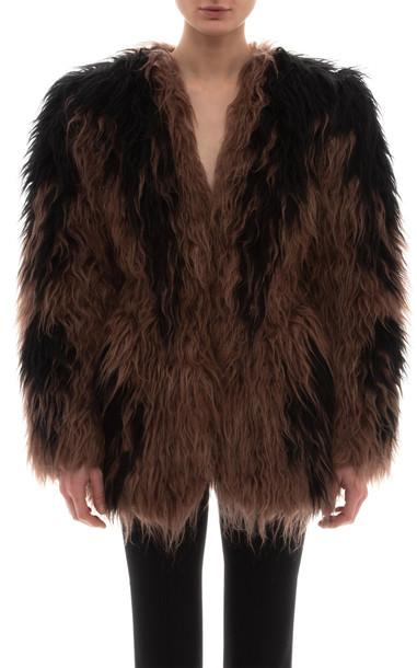 Miu Miu Oversized Shearling Coat in multi