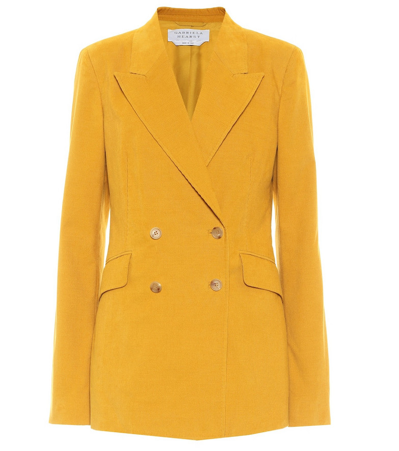 Gabriela Hearst Angela double-breasted cotton blazer in yellow