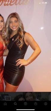 dress,black leather dress