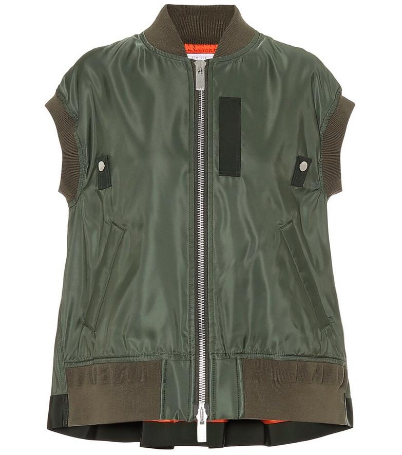 Sacai Nylon vest in green