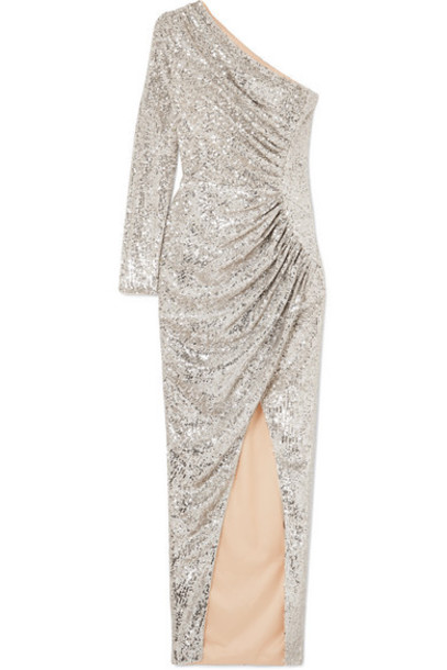 Rasario - One-shoulder Ruched Sequined Tulle Gown - Silver