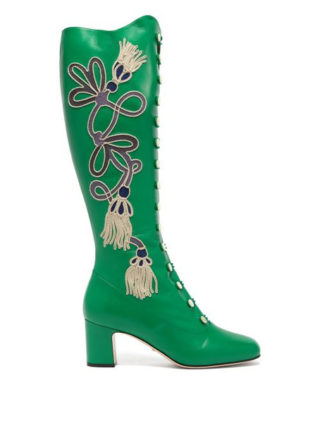 Gucci - Amaya Embroidered Leather Boots - Womens - Green