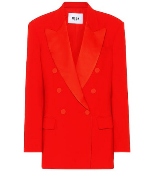 MSGM Double-breasted crêpe blazer in red