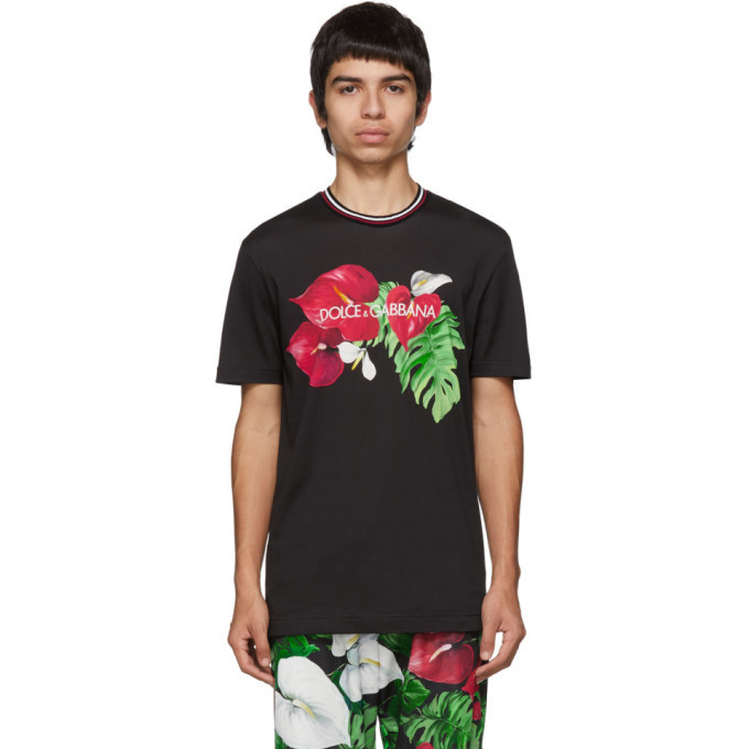 Dolce and Gabbana Dolce & Gabbana Black Anthurium T-Shirt