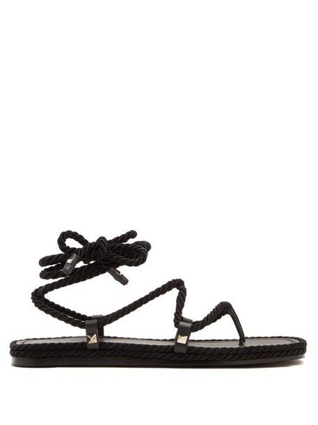Valentino - Satin Rope Wraparound Sandals - Womens - Black