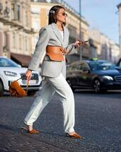 pants,white pants,isabel marant,high waisted pants,straight pants,mules,dior,brown bag,grey blazer,belt,white t-shirt