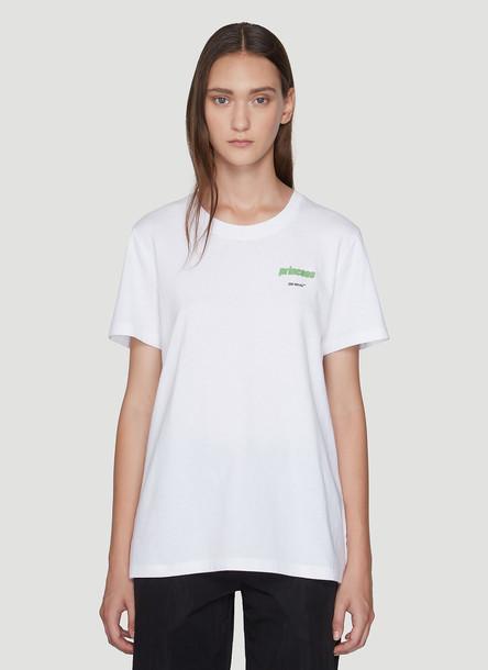 Off-White Princess Logo Print T-Shirt in White size S