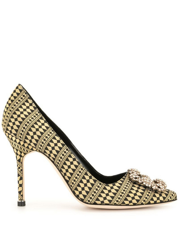 Manolo Blahnik Hangisi jacquard pumps in gold