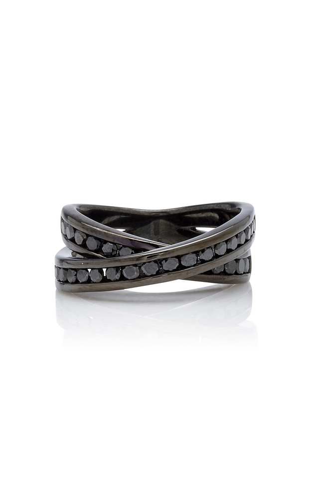LYNN BAN Infinity Rhodium-Plated Sterling Silver And Diamond Ring Size in black