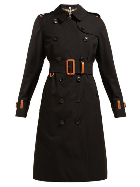 Burberry - Leather Trimmed Cotton Gabardine Trench Coat - Womens - Black