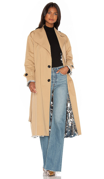 ANOUKI Sparkly Silver Double Sided Trench Coat in Tan