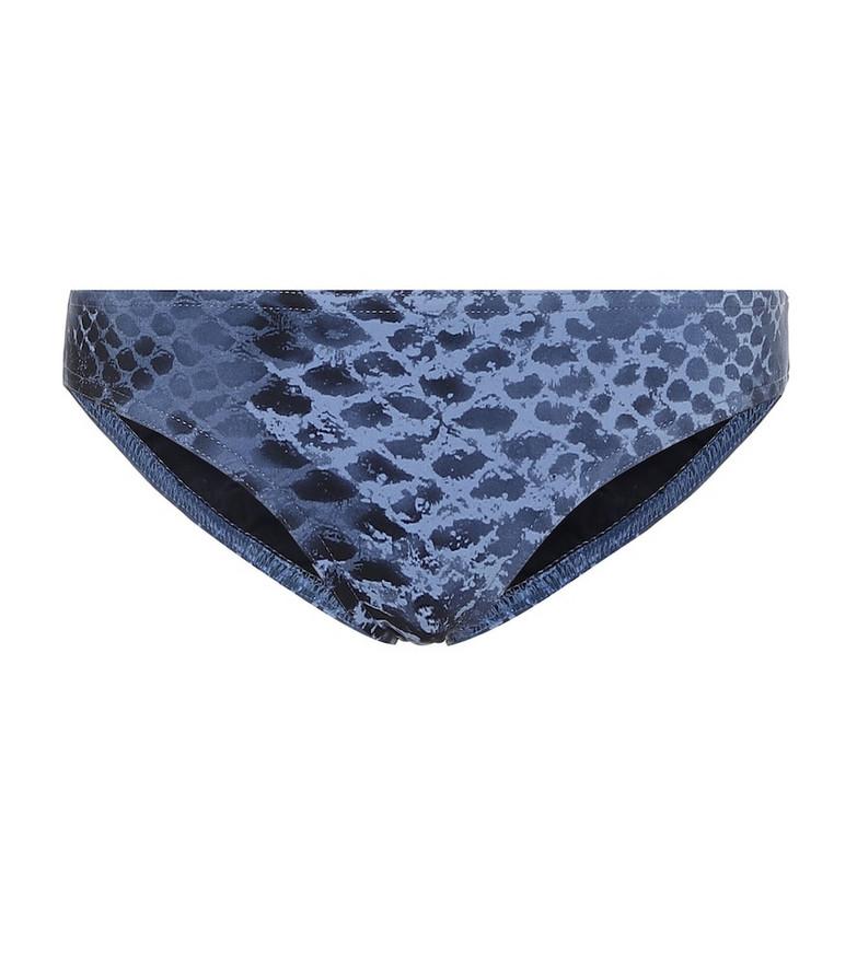 Karla Colletto Bree snakeskin-print bikini bottoms in blue
