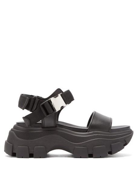 Prada - Buckled Leather Platform Sandals - Womens - Black