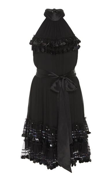 Temperley London Sylvan Paillette-Embellished Chiffon Mini Dress Size: in black