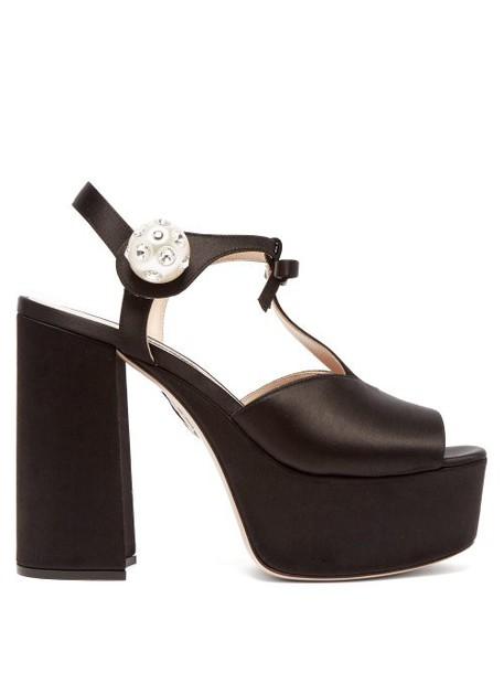 Miu Miu - T Bar Satin Platform Sandals - Womens - Black