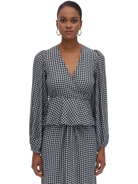 GANNI Printed Wrapped Crepe Top in blue / white